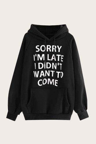 front_Hooded Collar Letter Print Black Sweatshirts & Hoodies