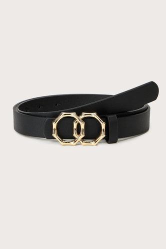 front_Edwina Elaine Black  Double Ring Decor Belt
