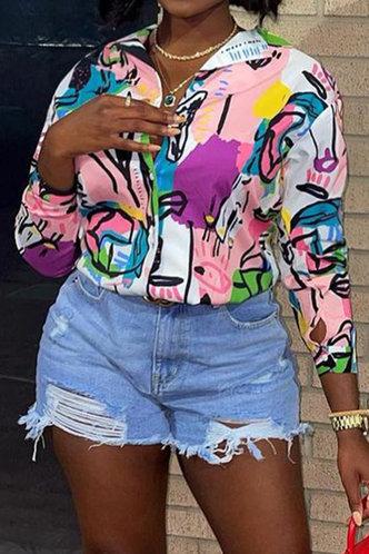 front_Casual Business Dropped Shoulder Multicolor Plus Size Blouses