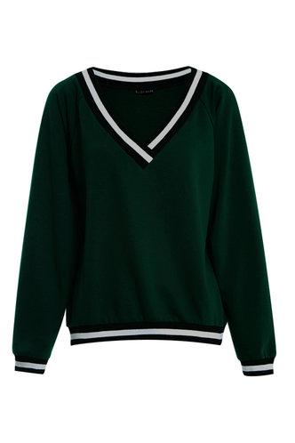 front_Do - re - mi Dark Green V Neck Sweatshirt