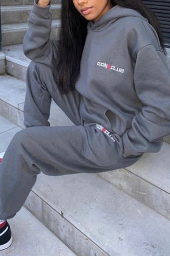 back_Letter Print  Pullover And Grey Sweatshirt Sets
