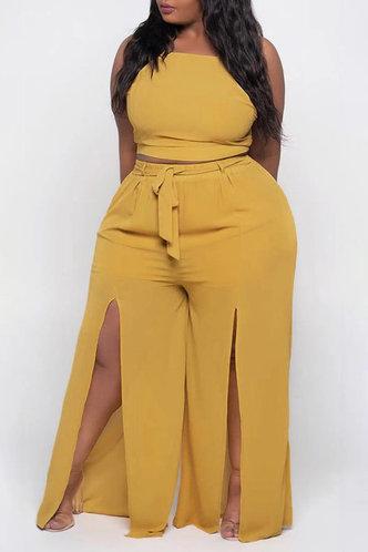 front_Plain Split Drawstring Yellow Plus Size Pants Sets
