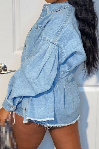back_Leonore Ethel Wash Blue Oversized Coat