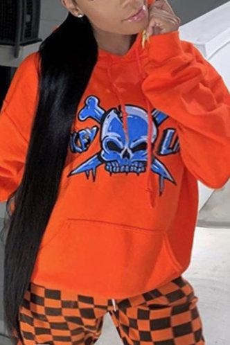front_Casual Street Chic Pocket Loose Orange Plus Size Sweatshirts & Hoodies