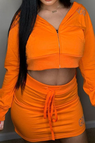 front_Plain Zig Up Zipper Up and Solid Drawstring Orange Skirt Sets