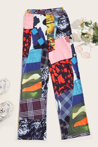 back_Mid Waist Plant Print Wide Leg Multicolor Pants