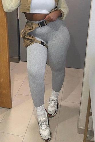front_Mid Waist Plain Sweatpants High Waisted Pants Light Grey Leggings