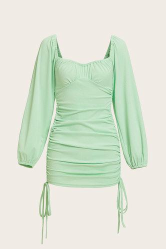 back_Shopping Long Sleeve Square Neck Lantern Sleeve Mint Green Dresses