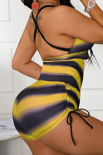 back_Odelette Emma Black And Yellow One-Piece Swimsuit
