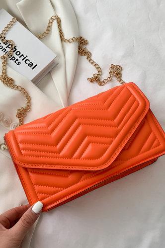 front_Casual Vacation Plain Metallic Button Orange Crossbody Bags