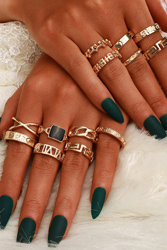 front_Starr Elsa Gold Star & Letter Detail Ring 13pcs