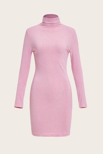 back_Above Knee Turndown Neck Regular Sleeve Pink Plain Dresses