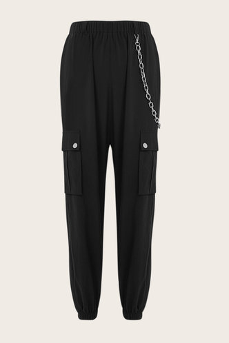 front_Day Off Black Cargo Pants