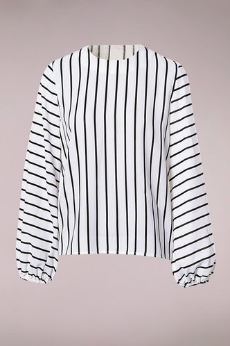 front_Earn Your Stripes White And Black Striped Keyhole Back Blouse