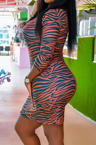 back_Brown Zebra Striped Plus Size Dresses