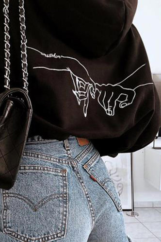 front_Hulda Eunice Black Sweatshirt & Hoody