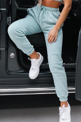 front_Mid Waist Plain Blue Sweatpants