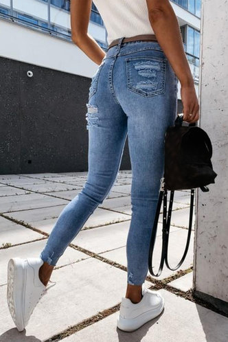 back_Kelley Elaine Blue Ripped Knee Jeans