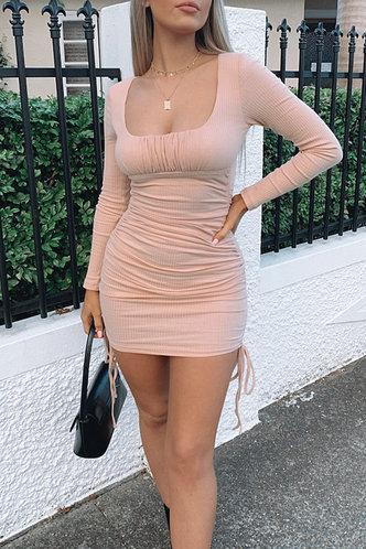 front_Verde Mock Neck Crop Pink Dress