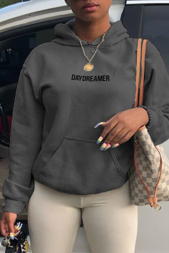 back_Casual Hooded Collar Letter Pocket Dark Grey Sweatshirts & Hoodies