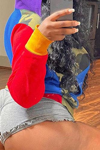 back_Casual Collared Colorblock Multicolor Outerwear