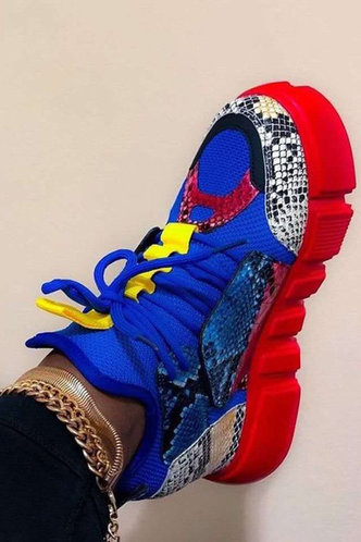 front_Cara Elvira Royal Blue Lace Up Front Sneakers