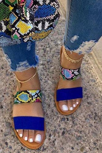 front_Elaine Gimik Snakeskin Print Slide Sandals