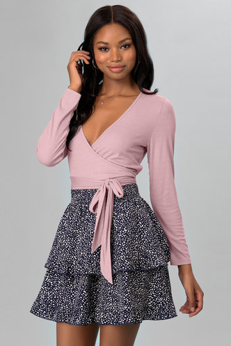 front_On The Line Blush Long Sleeve Top