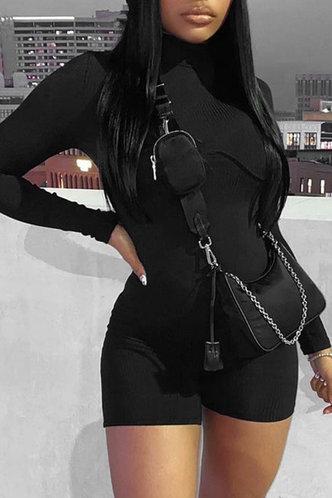 front_Turtle Neck Solid Color Black Rompers