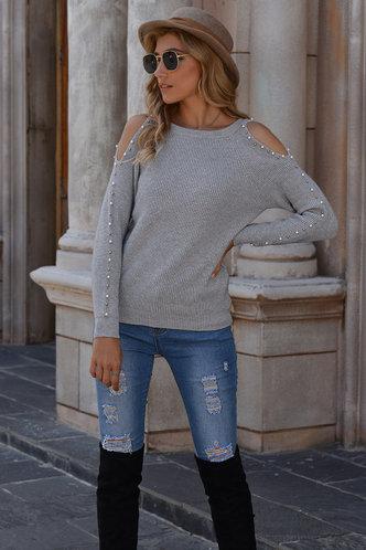 front_Hunter Grey Cold Shoulder Sweater