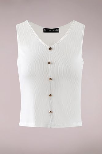 front_I Love It White Sleeveless Top