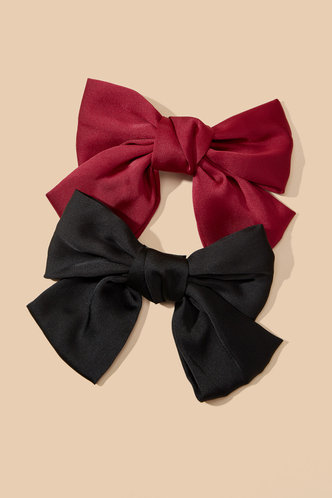 front_Leona Eartha Black And Red Hair Clip 2pack