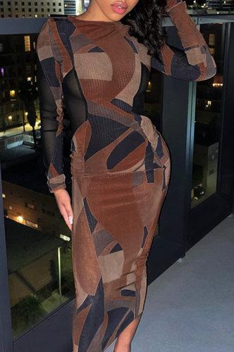 back_Lili Elizabeth Brown Geo Print Bodycon Dress