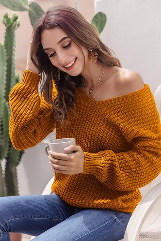 front_Ona Mustard Yellow Sweater