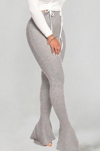 front_High Waist Pencil Pants Light Heather Grey Pants