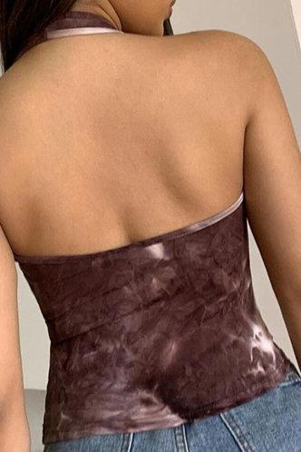 back_Tatum Emma Brown Tie Dye Halter Neck Crop Top