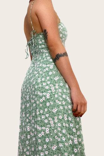 back_Gabrielle Glaving Green Floral Print Cami Split Hem Dress