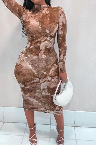 back_Charlene Esther Khaki Plus Bodycon Dress