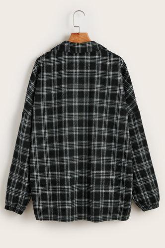 back_Thimpu Black And White Plaid  Flannel