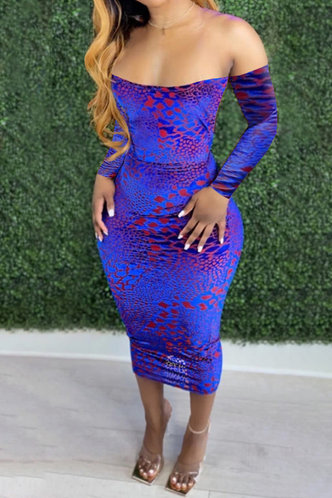 front_Shopping Vacation Party Long Sleeve Off the Shoulder Blue Leopard Print All over print Dresses