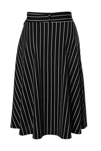 back_Coastal Breeze Black Striped Midi Skirt