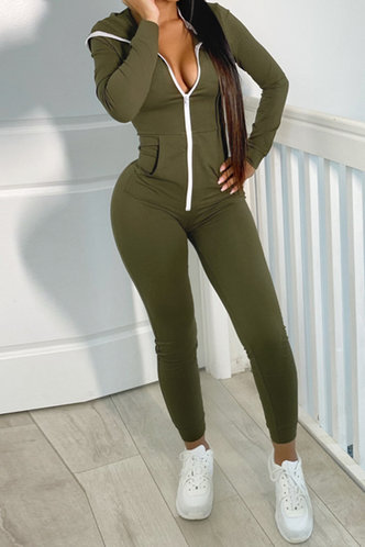 front_Genevieve Eileen Army Green Jumpsuit