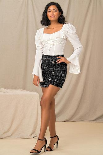 back_High Waist Black Plaid Skirts