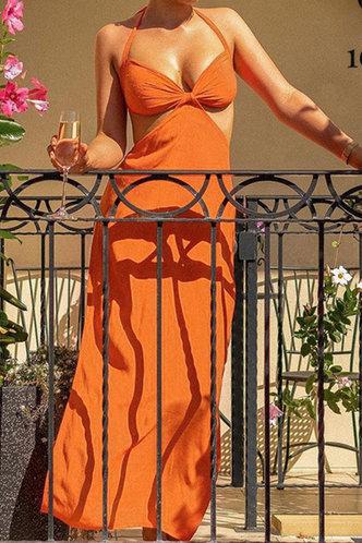 front_Pamela Elma Rust Orange Halter Tie Open Back Cutout Dress