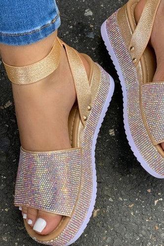 front_Nydia Elva Gold Glitter Flatform Sandals