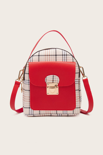 back_Helen Marist Red And Plaid Bagpack