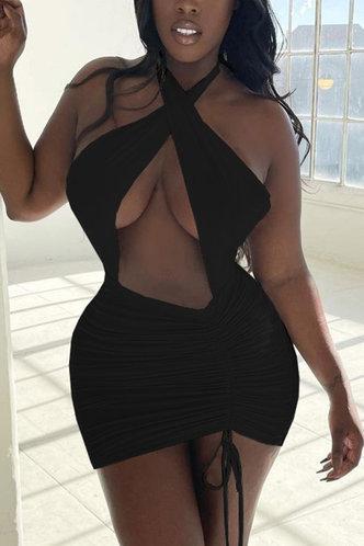 back_Elma Elaine Black Cutout Tie Hem Dress