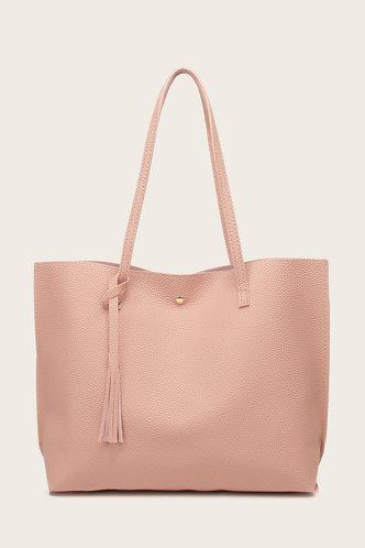 front_Tessie Elvira Coral Pink Tote Bag