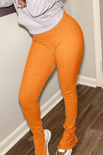 back_Mid Waist Orange Activewear Bottoms