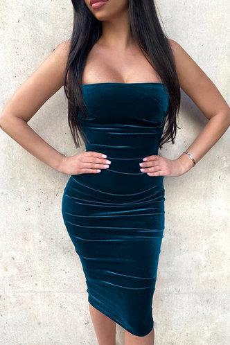 back_Margot Edwina Blue Ruched Velvet Dress
